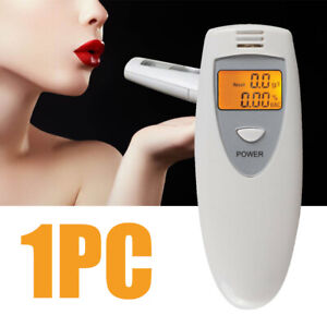 Portable LCD Digital Breath Alcohol Tester Breathalyser Detector Analyzer white