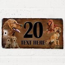 Personalised Golden Cocker Spaniel Dog Gate Door House Slate Sign Number Plaque
