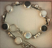 Sterling Mother Of Pearl And Onyx Enlay Bracelet