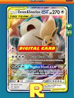 Eevee & Snorlax GX - Regular Art - for Pokemon TCG Online (ptcgo in Game Card)