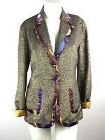 Custo Barcelona Blazer Jacket Gold Shimmer Multi Artsy Women's Size 44-M/L Spain