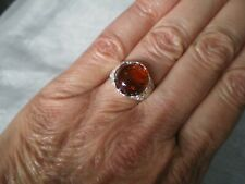 Baltic Cognac Amber ring, size L/M, 12 mm round, 2 grams 925 Sterling Silver