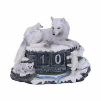 Nemesis Now Mother's Watch Wolf Figures Perpetual Desk Calendar Ornament