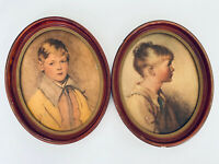"""Vintage 2 Framed Oval 10.5"""" X 8.5"""" Oil Painting By NY Co Peter & Charlotte 1940s"""