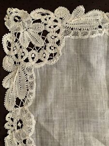 Beautiful Antique Handkerchief with Handmade Bruges lace edging 26cm