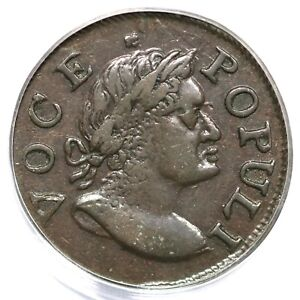 1760 N-9 R-3 PCGS AU 50 Voce Populi Colonial Copper Coin 1/2p