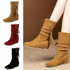 Women Pull On Tassel Shoes Flats 4cm Hidden Wedge Ankle Boots Casual Vintage New