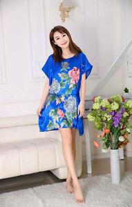 Women's Nightshirts Dress Satin Silk Flower Chemises Slip Sleepwear Robes