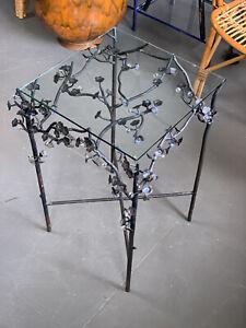Vintage Metal Flower Branch Side Table