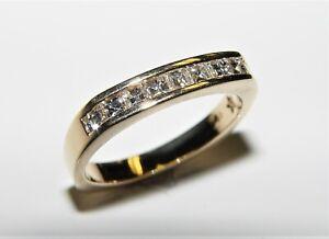 0.63CT Asscher Cut Natural diamond Wedding band 14K Yellow gold s-8