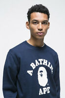 * Sale! A BATHING APE MEN'S COLLEGE INTARSIA KNIT Navy Size L From Japan New