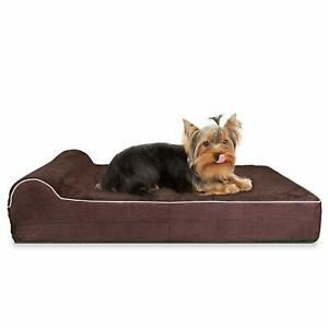 Bed for Small Dogs KOPEKS Viscoelastic Mattress plus Pillow S Brown