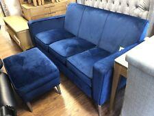 ROYAL BLUE VELVET FABRIC SOFA 3 SEATER & FOOTSTOOL