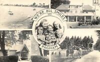 Vintage Real Photo Multi View Postcard, We're all smiles at PAGHAM, Sussex 29T