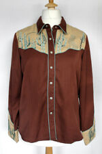 SCULLY Vintage Brown/Beige Cowboy Shirt - Cactus and Coyote Design SIZE LARGE