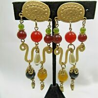 "Gold Tone & Beaded Pierced Earrings Faux Pearls Drop Dangle 3 1/4"" - F73"