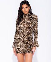 Leopard Print High Neck Bell Sleeve Bodycon Mini Dress UK Sizes 6 - 14 UK Seller