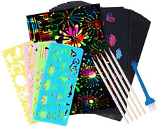 50 Pcs Rainbow Magic Scratch Paper For Kids Black Scratch Off Art Crafts Notes B