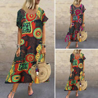 Womens Kaftan Short Sleeve Crew Neck Floral Holiday Vintage Dresses Long Dress