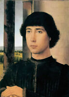 Oil painting hans memling - portrait of a young man In the building on canvas