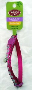 WHISKER CITY Neon Pink Paws Reflective Cat Collar (S) (NEW)