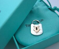 NEW Tiffany & Co. Vintage Lock Charm Pendant 18K Rose Gold Sterling Silver Sz M