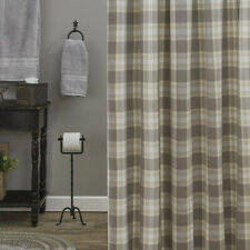 Weathered Oak Taupe Ivory Tan Plaid Country Farmhouse Cotton Shower Curtain
