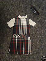 NIP 3 pc SCHOOL UNIFORM Dress Jumper Dress Outfit for Barbie doll PLAID #49