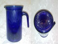 "VINTAGE 7"" Cobalt Blue Sun Diamond Heavy Glass Pitcher Flower Vase Container"