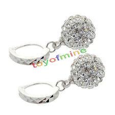 Women White Gold Filled Crystal Rhinestone Hoop Earrings Wedding Jewelry