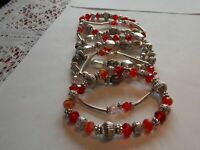 Handmade Southwestern Silver with Red beades 6 bracelets lovely on wrist