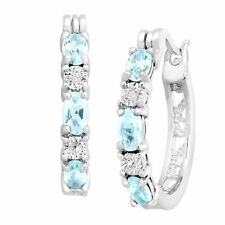 Sky Blue 5/8 Ct Topaz Hoop Earrings with Diamonds in Silver Plate