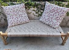 Bench Charpoy Indian Style..100% Hand Made. Strong Wood.Hand-knitted Cotton