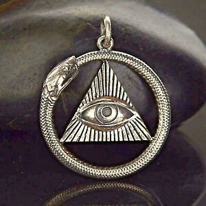 Sterling Silver Ouroboros Pendant Snake Seeing Eye Charm Serpent Necklace 7023