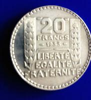 #0280# JOLIE PIECE DE 20 FRANCS TURIN 1933 / ARGENT TB