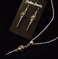 6cf29a067 Crow Skull Necklace + Earrings *SET* Bird Pendant Gothic Charm Animal  Vintage UK