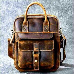 Men Real Distressed Vintage Leather Satchel Messenger Work Laptop Briefcase Bag