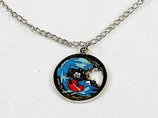 Felix The Cat Necklace w/Silver Tone Open Round Pendant ~ Felix Surfing #YPD1143