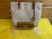 MICHAEL KORS COATED CANVAS/PVC SIGNATURE LOGO WHITE VANILLA TOTE /WALLET LEATHER