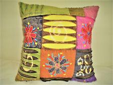 Handmade Pillow Cover Flowers Hand Painted Tie Dye Denim T-Shirt Yellow