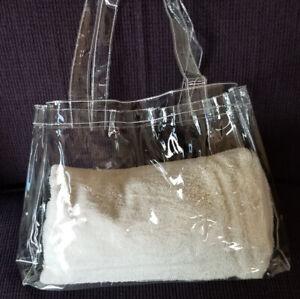 TOTALLY CLEAR See Through Vinyl Beach Shopping Tote Hand Bag Purse