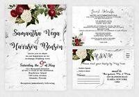 Wedding Invitations Red and White Bridal Shower Invites Personalized Qty 50