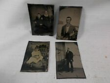 4 Tintype Photo Lot Children Girl In Victorian Parlor Chair Man in Suit