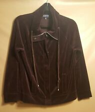 Jones New York Sport ZIP/Snap FRONT VELOUR PURPLE SZ M Sweatshirt Jacket