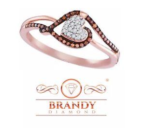 Brandy Diamond® Chocolate Brown 10K Rose Gold Stunning Heart Design Ring .17Ct