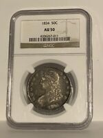 1834 Capped Bust Half Dollar 50C NGC AU50 Large Date Large Letters