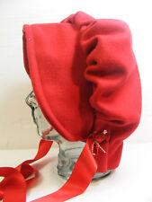 red woolen VICTORIAN EDWARDIAN BONNET HAT FANCYDRESS BOOK DAY RE ENACTMENT