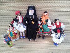 Lot de 7 poupées ancienne  tissu régionnale religieuse art pop, old french doll