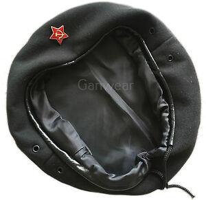 USSR Soviet Russian Army Style Black CHE GUEVARA Beret Hat Cap Small Star Badge
