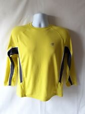 Champion men's yellow polyester long sleeve activewear top size M